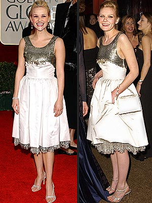 vintage white and silver Chanel dress to the 2006 Golden Globes—the same